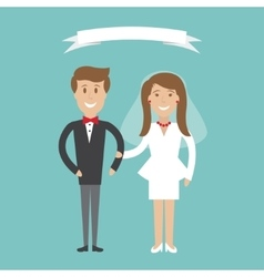 Cute cartoon wedding couple vector