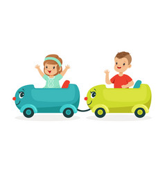 cute happy little boy and girl riding a train kid vector image