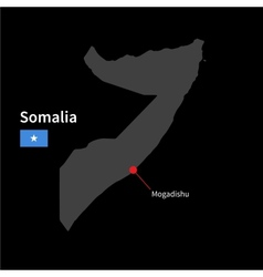 Detailed map of Somalia and capital city Mogadishu vector image