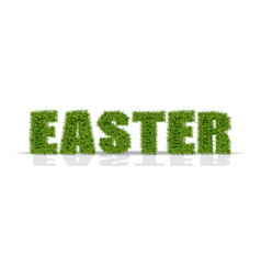 Easter green grass sign realistic isolated vector