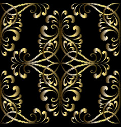 Embroidery gold vintage seamless pattern vector