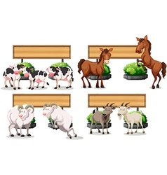 Farm animals standing by the sign vector