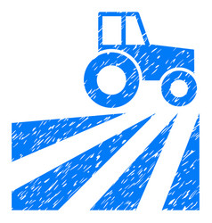 farm field with tractor icon grunge watermark vector image