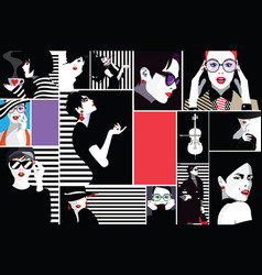 fashion women in style pop art vector image
