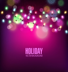 Festive background of luminous garlands of light vector