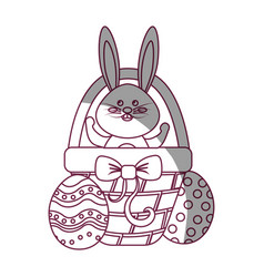 figure rabbit easter inside of hamper and eggs vector image