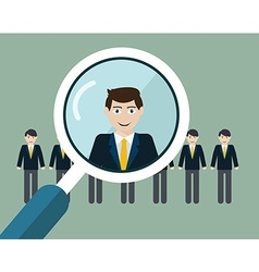 Finding professional staff with magnifying vector
