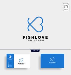 fish heart line logo template icon element vector image