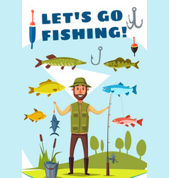 Fisherman with rod and fish poster fishing design vector