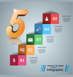 Five stair infographics up the ladder to success vector