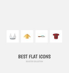 Flat icon dress set of brasserie banyan t-shirt vector