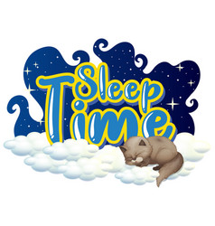 Font design for word sleep time with cat sleeping vector