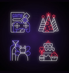 friends and family gathering party neon light vector image