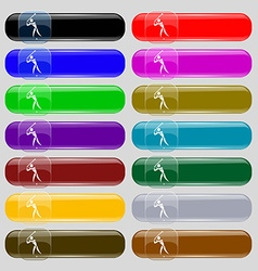 Golf icon sign set from fourteen multi-colored vector