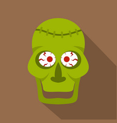 green zombie skull icon flat style vector image