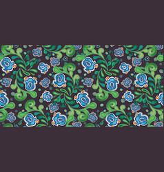 Grey pattern with blue bellflower vector