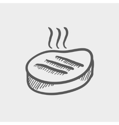 Grilled steak sketch icon vector