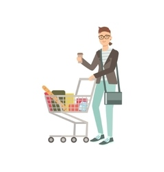 Guy Drinking Coffee And Grocery Shopping vector