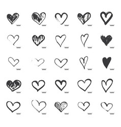 hand drawn calligraphy heart set isolated on vector image