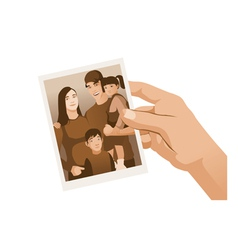 Hand holding family Photo sepia isolated vector image