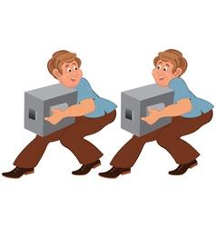 Happy cartoon man in brown pants walking with vector image