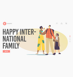 Happy international family landing page template vector