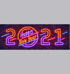 happy new year 2021 neon colorful banner new year vector image