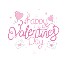 Happy valentines day lettering with hearts hand vector