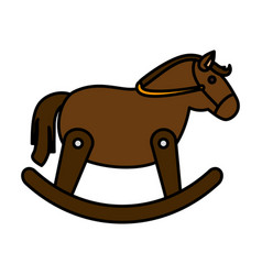 horse wooden isolated icon vector image