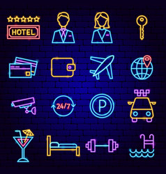 hotel neon icons vector image