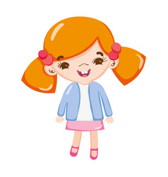 little cute girl happy and pony tails hair cartoon vector image