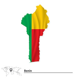 Map of Benin with flag vector image