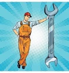 Mechanic with a wrench vector