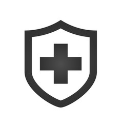 medical shield with cross icon black pictogram vector image