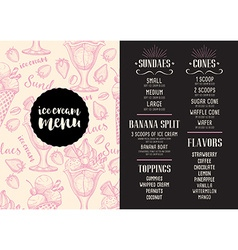 Menu ice cream restaurant template placemat vector