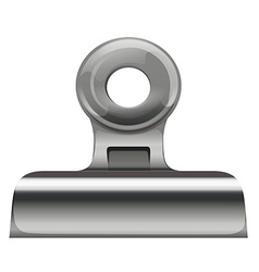 Metal paper clip on white vector image