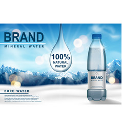 Mineral water ad plastic bottle with pure mineral vector