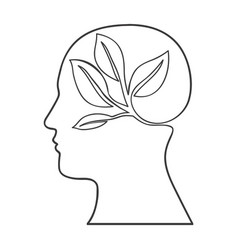 Monochrome silhouette of human head with ecology vector