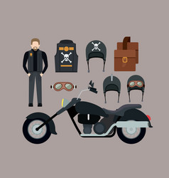 Motorcyclist and classic black motorcycle vector