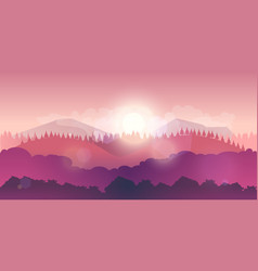 mountains and forest landscape early vector image