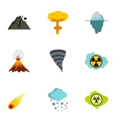 Natural catastrophe icons set flat style vector