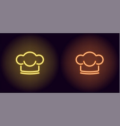 neon chef hat in yellow and orange color vector image