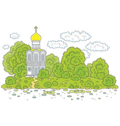 Old white church on a river bank vector
