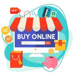 Online shopping concept banner trendy vector