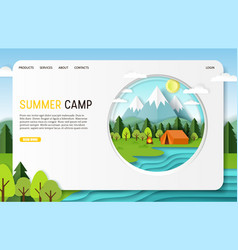 paper cut summer camp landing page website vector image