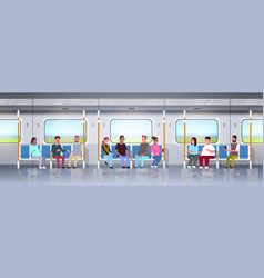 people inside subway metro train mix race vector image