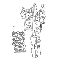 People waiting in queue to cashier in retail store vector