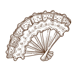 retro fan vintage accessory with lace and wooden vector image