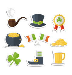 saint patrick day sticker set vector image