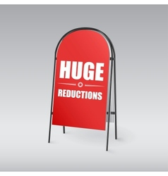 Sandwich board with an inscription Huge reductions vector image